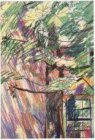Studie van een boom en een beschaduwde muur. Voorstudie voor een tekening van de…