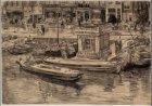 Het Damrak, gezien uit de Guldehandsteeg over het water. Getekend door Pieter Du…
