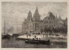 Singelgracht en Stadhouderskade met het Rijksmuseum. Techniek: houtgravure