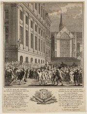 Gezigt van den Dam, het Stadhuis, en de Nieuwe Kerk te Amsterdam ... etc