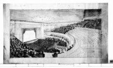 Verbouwing van theater Carré, Amstel 115-125. Ontwerptekening met perspectief