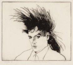 Portret van Milsons Robbie, een punker, Derde Oosterparkstraat 48. Techniek: ets…