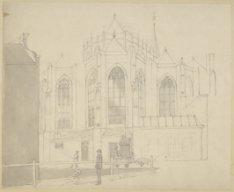 Dam 12. Tekening van het koor van de Nieuwe Kerk, gezien vanuit de Gravenstraat,…