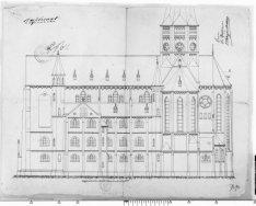 Zij-aanzicht van de Posthoornkerk, Haarlemmerstraat 124