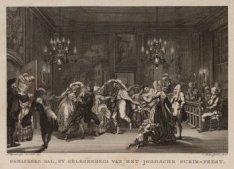 Gemaskerd bal, by gelegenheid van het Joodsche Purim-feest