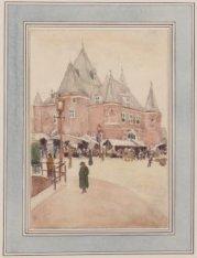 De St. Antonies Waag met marktstallen, gezien vanaf het begin van de Kloveniersb…