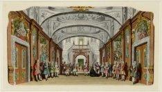 Interieur van de Schouwburg aan de Keizersgracht 384, met het decor van het Hofp…
