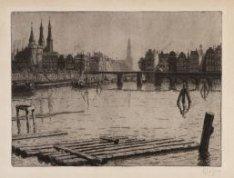 Westerdok gezien richting spoorbaan Amsterdam-Haarlem vanaf de Westerdoksdijk