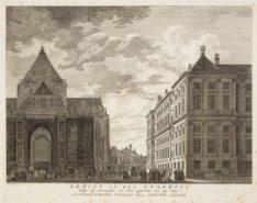 Gezigt op het Stadhuis, langs de noordzijde en van agteren, en op den onvolbouwd…
