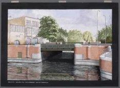 Brug 152: vaste brug over Haarlemmervaart voor het Nassauplein. Techniek: gouach…
