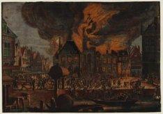 Afbeelding van den Brant  van 't oude Stadhuys van Amsterdam: 't welk den 7 July…