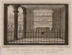 Monument opgerigt ter eere van Van Speyk in het Burgerweeshuis, te Amsterdam