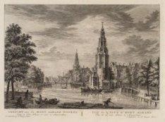 Gezicht van de Mont Albans Tooren, langs de Oude Schans te zien te Amsterdam