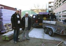 Polderweggebied. Aannemers op de bouwplaats van de nieuwe Brede School