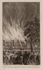 Brand ontstaan in het Admiraliteits Huis gezien vanaf de IJgracht, nu Prins Hend…