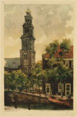 Westertoren en Westerkerk gezien vanaf de Bloemgracht. Rechts het hoekhuis Bloem…