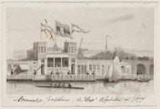 """Voormalige Jachthaven """"De Hoop"""", afgebroken in 1877, bij de Hogesluis"""