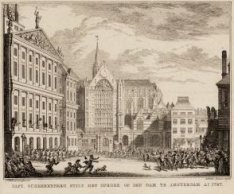 Capt. Scheerenberg stilt het oproer op den Dam te Amsterdam anno 1747