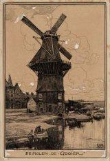 """De Molen """"De Gooier"""", Funenkade. Op de voorgrond de Nieuwevaart. Techniek: Teken…"""