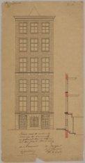 Ontwerptekening voor de verbouwing van het woonhuis Prinsengracht 74, vervaardig…