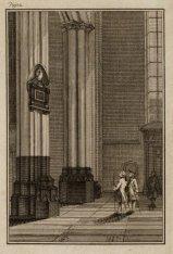 Dam 12, interieur van de Nieuwe Kerk. Links tegen de pilaar het gedenkteken van …