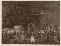 De Nieuwmarkt bij avond, gezien uit de Koningsstraat