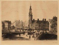 De Munttoren op het Sophiaplein gezien vanaf de Nieuwe Doelenstraat met op de vo…