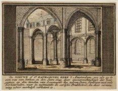 De Nieuwe of St. Katharines Kerk 't Amsterdam, zoo als zy te zien was van binnen…