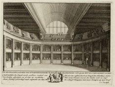 Het interieur van de Amsterdamsche Schouwburg, Keizersgracht 384, met de zit en …