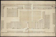 Plattegrond van de Nieuwe Walenkerk, Prinsengracht 667. Techniek: pen in bruin, …