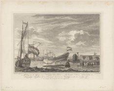 Afbeelding van het Afloopen van 't Hoekerschip De Zon, in Tegenwoordigheit Hunne…