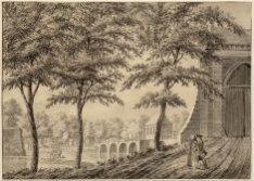 Singelgracht met rechts de Eerste Muiderpoort en links de overblijfselen van de …