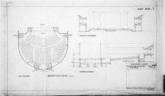 Verbouwing van theater Carré, Amstel 115-125. Vervallen bouwtekening met platteg…