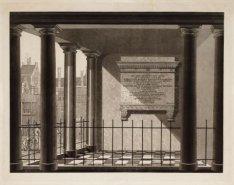 Monument voor Jan C.J. van Speyk, links de binnenplaats van het Jongensweeshuis,…