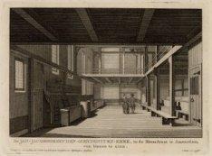 De Jan-Jacobsgezinden-Mennoniten-Kerk, in de Bloemstraat te Amsterdam, van binne…