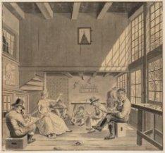 Interieur van de beeldhouwerswinkel van Pieter Luypen op de Elandsgracht 20, waa…
