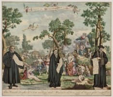 Jubel Feest des Amsteldamschen Schouburgs, 1738. (titel in beld).  Des Waerelds …