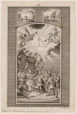 Illuminatie in de vorm van op transparant materiaal geschilderde allegorische vo…