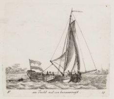 Een Jacht met een bezaanzeijl