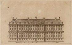 Een ontwerp van het Nieuwe Stadhuis op de Dam. De achtergevel aan de Nieuwezijds…