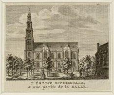 De Westerkerk en rechts de Westerhal op de Westermarkt. Techniek: steendruk