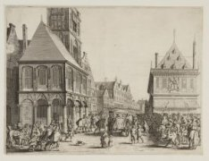 Het afscheid van Maria de Medici voor het Stadhuis op de Dam in 1638