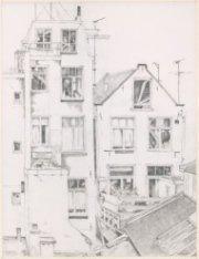 Achtergevels van de Oude Looiersstraat of Elandsstraat, gezien vanuit een huis o…