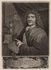 Portret van de schilder Barent Graat (1628-1709), prent naar een geschilderd zel…