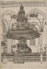 De preekstoel van Albert Vinckenbrinck in de Nieuwe Kerk. Voorstelling in spiege…