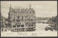 Hotel de l'Europe, Nieuwe Doelenstraat 2-4 en rechts de Binnen Amstel. Uitgever:…