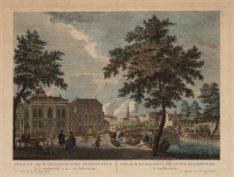 Gezicht van de Hoogduitsche Jooden-kerk, op de Houtmarkt te zien, tot Amsterdam