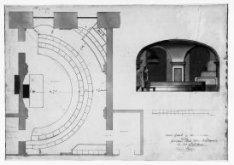 Plattegrond/doorsnede van de gewezen Stads-tekenacademie in het Nieuwe Stadhuis