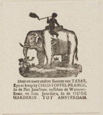 Vignet van tabakshandel Christoffel Prange, gevestigd in de Sint Jansstraat, in …
