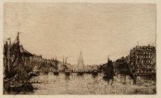 Amstel gezien in noordelijke richting naar de Hogesluis; rechts het Amstel Hotel…